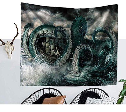 Vivid Sea Monster Kraken Krake Angriff Schiff Drucken Wandteppich Octopus Thema Tischdecke Abdeckung Mandala Boho Strand Handtuch - Den Strand Octopus Für Handtücher