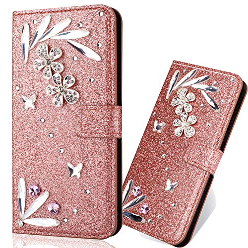 iPhone SE Leather Case,iPhone 5S Flip Wallet Case,iPhone SE Cover,Cool 3D Butterfly Feather Flower Bling Glitter Diamond Pattern Leather Stand Function Flip Kickstand Magnetic Book Wallet with Card Slot Holder Protective Cover Case for iPhone 5S/SE/5