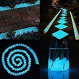 Cozzine Piedras Decorativas Brillantes, Piedras Luminosas para Decoración de Jardín, Acuario, Pecera, Walkway, Artificiales (100 Piezas)