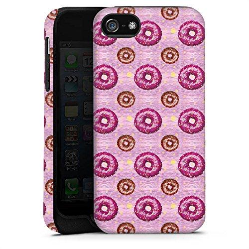 Apple iPhone X Silikon Hülle Case Schutzhülle Donut Party Pink Braun Tough Case matt
