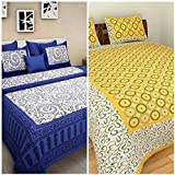 Dinesh Enterprises Cotton Combo Bed Sheet (Cotton Combo Set Of 2 Double Bedsheet With 4 Pillow Covers)-Multi