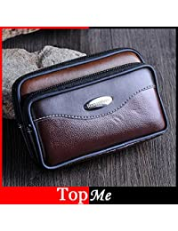 Buyworld Men Fanny Pack Mobile Phone Bags Brown Black Double Zippers Male Coin Purse Burse Good Quality Bag Waist...