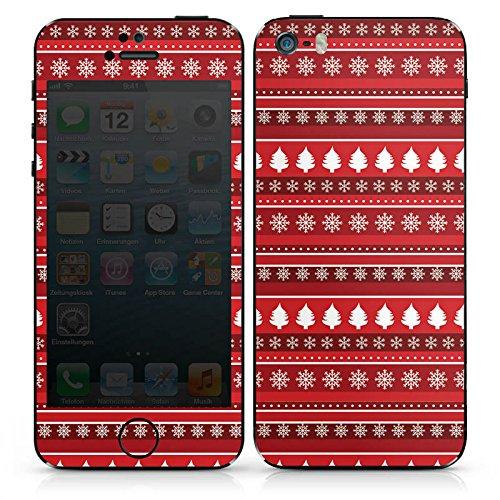 Apple iPhone SE Case Skin Sticker aus Vinyl-Folie Aufkleber Bäume Weihnachten Rot DesignSkins® glänzend