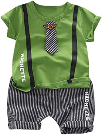 Qiraoxy Tuta Tipo Gentiluomo Pagliaccetto Manica Corta Cravatta Neonato Neonato per Abbigliamento Estivo Bambino 0-18 M