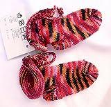 Babyschuhe, handgestrickt, Sockengarn, Babysocken - Fußlänge 10 cm - zum Zubinden