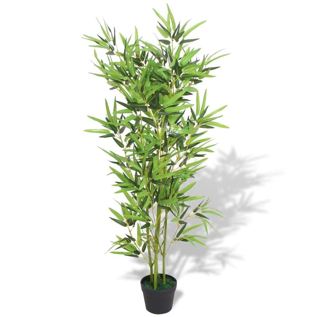 yorten Árbol de Bambú Artificial con Maceta Realista para Hogar u Oficina 120 cm Verde