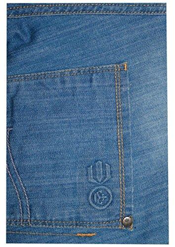Gitterschnitt der neuen Männer Designer Gerade Fit Stretch Jeans Cotton Denim freien Gurt Light Wash