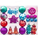 Valery Madelyn 50 Teile Weihnachtskugeln Kunststoff zur Weihnachtsbaumdekoration mit Mehrfarbige Christbaumkugeln Set und passende Aufhänger Weihnachtsbaumschmuck Weihnachtsdekoration