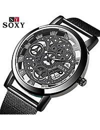 SOXY Luxury Skeleton Watch Men's Watch Steel Mesh Men's Watch