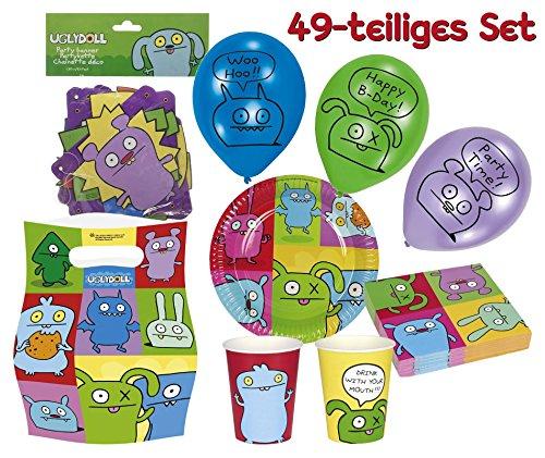 49-teiliges PARTY SET - UGLYDOLL - für Kindergeburtstag - Teller, Becher, Servietten, Girlande, Partytüten, Luftballons von Riethmüller // Motto Deko Fest Kinder Geburtstag Kinderparty