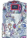 Barbons Freizeit Hemd Herren Technologie - Digital Print - Langarm Hawaiihemd Bügelfrei Mehrfarbig Modern Fit Blumen Bunte Muster X-Large