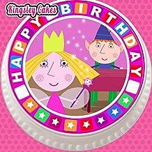 Decoración para tarta para comestible glaseado grande troquelada–7,5pulgada redonda con Ben y Holly cumpleaños frontera