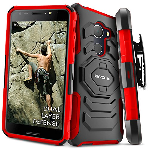 T-Mobile revvl Fall, evocel [New Generation] Rugged Holster Dual Layer Case [Ständer] [drehbarem Gürtelclip] für Alcatel Walters/T-Mobile revvl (5049 W), Rot T-mobile-clip