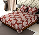 Home Candy Glow in The Dark Brown Designer Cotton Double Bed Sheet with 2 Pillow Covers