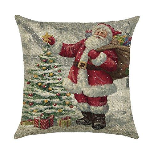 Hengjiang cuscino natalizio pupazzo di neve, babbo natale pittura 120g federa double-face 45,7x 45,7cm 45x 45cm in cotone spesso casi per la casa divano letto decorativo 08
