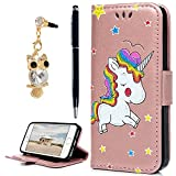 YOKIRIN iPhone SE Case, iPhone 5 5s Flip Wallet Case, Folio PU Leather Case With Magnetic Closure Kickstand Card ID Holder & Dust Plug & Touch Pen for iPhone 5 5s SE, Rose Gold