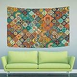 Ahomy Tapisserie Vintage Marmor mexikanische Keramik Fliesenmedaillon, Polyester, Multi 01, 153 x 102 cm