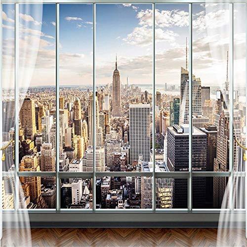 Art Print Fototapeten 3D Stereo Tapetenwand Moderne Gefälschte Fenster Wohnzimmer Schlafsofa Schlafzimmer Flash Silber Tuch Tapete,400x280cm -
