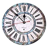 Soledi 30,5cm vintage Roman Numeral design France Paris Rusted metal look French Country Tuscan Style Paris Wood Wall Clock