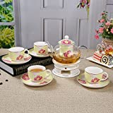 Keramik Glas Teekanne Teacup Set beheizbare Duft Tee Set Geschenk 10 Stück (Farbe : Yellow C)