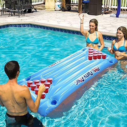 Jeromkewin PVC Aufblasbar Bier Pong Tisch Matratzen Lounge Schwimmbad Matraze 24 Becherhalter für Sommer (Sommer-bier)