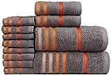 Casa Copenhagen Exotic Kollektion 475 g/m² Baumwolle 12 teiliges Badetüch, Handtüch und Seiftücher Set, Grau