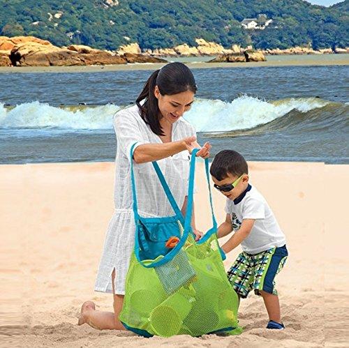 Jiuyizhe 2 Teile/Satz Familie Faltbare Mesh Strandtasche Tote Mesh Bag Organizer Spielzeug Lagerung für Strand Kinder Spielen (Color : Gray)