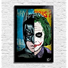 Batman Cavaliere Oscuro vs Joker (Heath Ledger) Dc Comics - Quadro Pop-Art Originale con Cornice, Dipinto, Stampa su Tela, Poster, Locandina