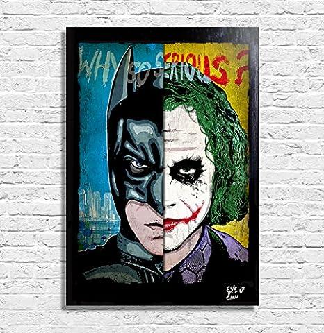 Batman The Dark Knight vs Joker (Heath Ledger) Dc Comics - Illustration originale encadrée, peinture, presse artistique, poster, toile imprimée, art contemporain, image sur toile, affiche d'art, bandes dessinées