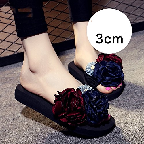 Estate Sandali Sandali e pantofole femminili estivi Casual pantofole Scarpe da spiaggia per 18-40 anni Colore / formato facoltativo 3cm-Blue