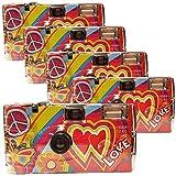PHOTO PORST Rainbow Kult - 5 fotocamere usa e getta da 27 foto, con flash, colore: Rosso