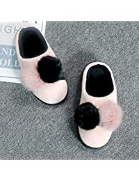 DogHaccd Zapatillas,Zapatillas de algodón Jersey invierno femenino coreano par bola más gruesa estancia interior...