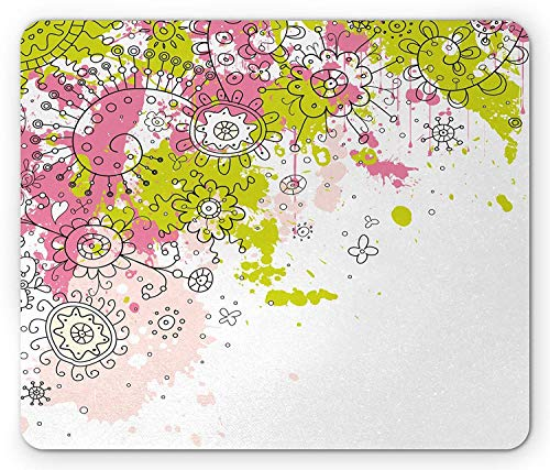 BAOQIN Mouse Pad,Asian Mouse Pad, Hand Drawn Sketchy Abstract Pastel Watercolor Image Print, Standard Size Rectangle Non-Slip Rubber Mousepad, Lime Green Light Pink and Hot Pink