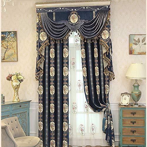 MENGXIANG Jacquard garngefärbte Vorhänge Wohnzimmer Schlafzimmer Verdunkelungsvorhänge Europäische Vorhänge 140 * 260cm