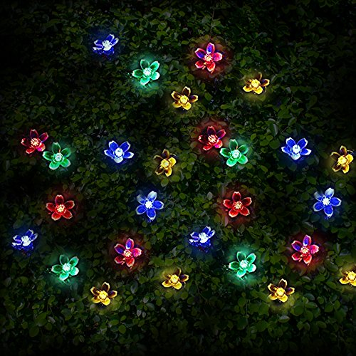 50 Multi-colour LED Blossom Solar Powered Fairy Lights / String Lights / Christmas Lights by SPV Lights: The Solar Lights & Lighting Specialists (Free 2 Year Warranty Included)