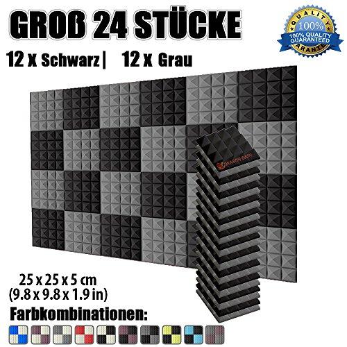 Super Dash 24 Stucke von 25 x 25 X 5 cm Schwarz & Grau Pyramide Akustikschaumstoff Noppenschaumstoff Akustik Dämmmatte Schallisolierung Schaumstoff Polster Fliesen SD1034 (Schwarz & Grau)