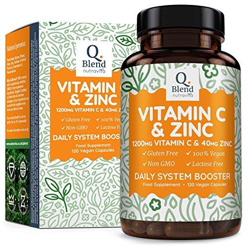Vitamina C 1200 mg y Zinc 40 mg, 120 Cápsulas Vegetarianas, Mantener un Sistema Inmunológico Saludable, 2 Cápsulas al día, Hecho en UK por Nutravita