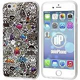 "deinPhone Apple iPhone 6 6S (4.7"") SILIKON CASE Hülle Comic Muster Grau"