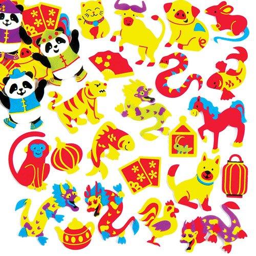 Baker Ross Pegatinas de Espuma del Año Nuevo Chino, Decoraciones y Manualidades Infantiles (Pack de 120).