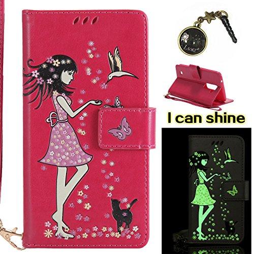 Preisvergleich Produktbild für LG K10 (2016) Hülle Flip-Case Premium Kunstleder Tasche im Bookstyle Klapphülle mit Weiche Silikon Handyhalter Lederhülle für für LG K10 /2016(5.3 Zoll) Luminous Mädchen Katze case Hülle +Stöpsel Staubschutz (5)