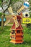 Windmühle ca. 140 cm, KLASSIK MIT BALKON-Rand HOLZ Fenster, XL Gartenwindmühle WMB-RA140-ro-MS, ROT voll funktionstüchtig,schöne Details, Fensterkreuz Deko-Windmühlen Outdoor, Windfahne / Windrad kom