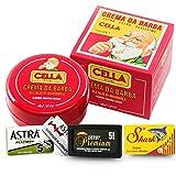 Cella Shaving Cream plus 15 Double Edge Razor Blades In Kit. Astra, Shark and Derby