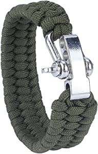 Asuthink Survival bracelet Outdoor Emergency Rescue Parachute Rope Bracelet for Travelling Camping Hiking Multifunctional paracord bracelets kit with Adjustable Stainless Steel Buckle