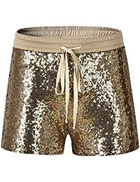 f7bbf0007e Byqny Mujer Brillante Pantalones Cortos De Lentejuelas De Elást Clubwear