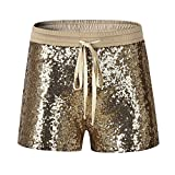 Byqny Damen Sequin Shine Glitter Shorts Paillette Verschönert Party Kurze Hose