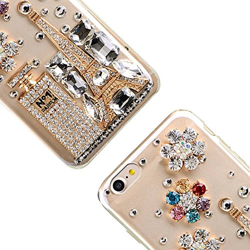 MOMDAD IPhone 7 Coque IPhone 7 TPU Silicone Case IPhone 7 Souple TPU Cover avec Paon Bling Crystal Etui Housse de Protection [Pare-Chocs] Shell Skin pour IPhone 7 4.7 Pouces Soft Portable Hull Etui-Bl PC-Diamant-10