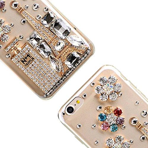 Bling Bling iPhone 7 Hülle, MOMDAD Diamant Glitzer Glänzend Handmade Schutzhülle für iPhone 7 Handyhülle Transparent PC Hart [Spiegel Mirror Blume Pearl Perle] Case Cover Luxus Crystal Strass Shining  Diamond # 10
