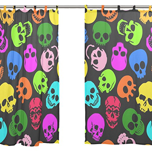 jstel 2pezzi Voile tenda di finestra, Colorful Skull, Tulle Sheer Curtain Drape Valance 139,7x 198,1cm Set di due pannelli
