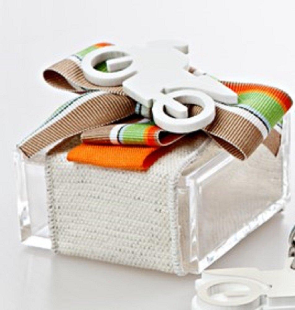 Bomboniera con confetti, con applicazione VESPA-CHITARRA-CHIAVE DI VIOLINO-MOTO Scatola Plexiglass