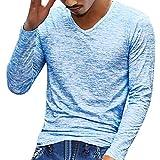 Sweatshirt Herren Longra Herren Solid V Neck Langarm T-Shirt Top Slim Bluse Langarmshirt Rundhals Classics Herren T-Shirt (XL, Blue)